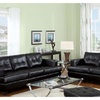 Kalush 2 Pieces Living Room Set in Black Bonded Leather