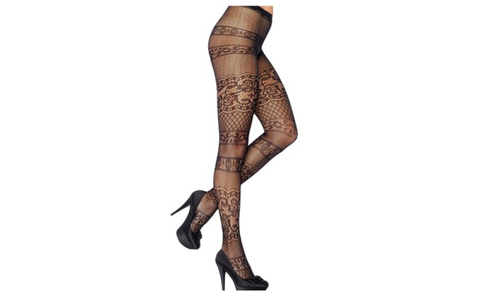 Women's Fashion Sexy Lace Classic Stripe High Waist Exotic Pantyhose - Black