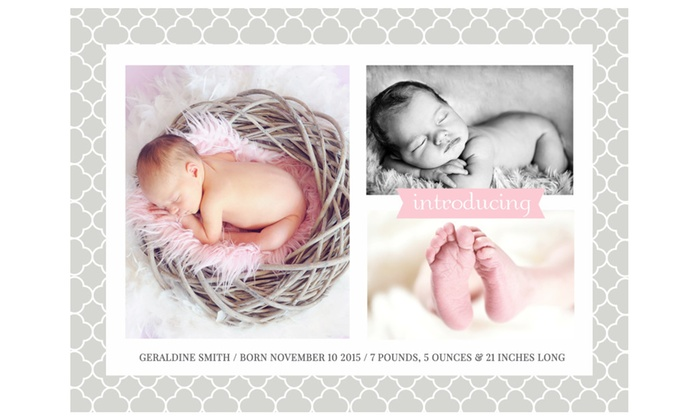 25 50 Or 100 Custom Photo Birth Announcement Cards Groupon