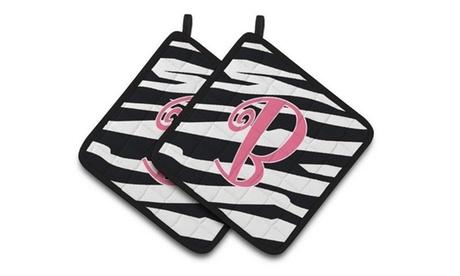 Carolines Treasures CJ1037-BPTHD Monogram Initial B Zebra Stripe & Pink Pair of photo