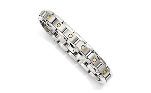 Icecarats Designer Jewelry Titanium With 14k Inlay Accent Bracelet
