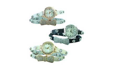 Jessica Carlyle Crystal Encrusted Wrap Around Watch