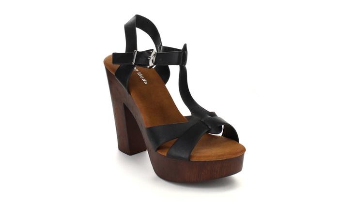 Beston CB83 Women's Chunky Heel Platform T-strap Sling Back Sandals