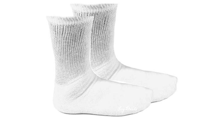 Advanced Sports Diabetic Socks Or Crew Socks 2 Size 10-13 Pairs White