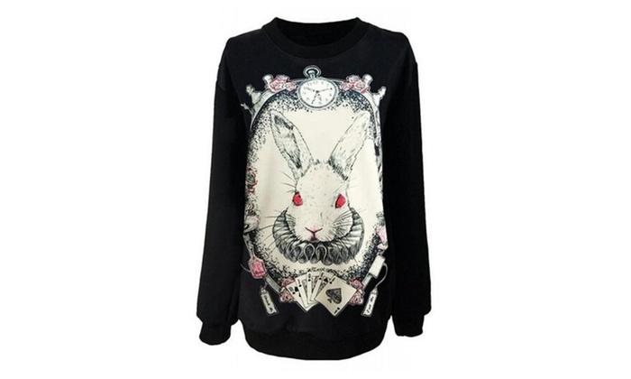Women Gothic Cotton Pullover Sweatshirts Costume Rabbit Sweat - Black / One Size