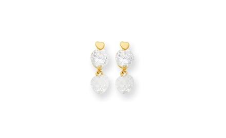 IceCarats Designer Jewelry 14k Madi K CZ Heart Dangle Post Earrings