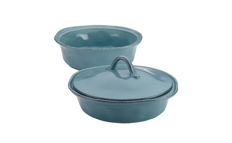 Rachael Ray Cucina Stoneware 3-Piece Round Casserole & Lid Set, Agave 3e9af4a0-19ad-4cc8-be09-0433bcea8a32