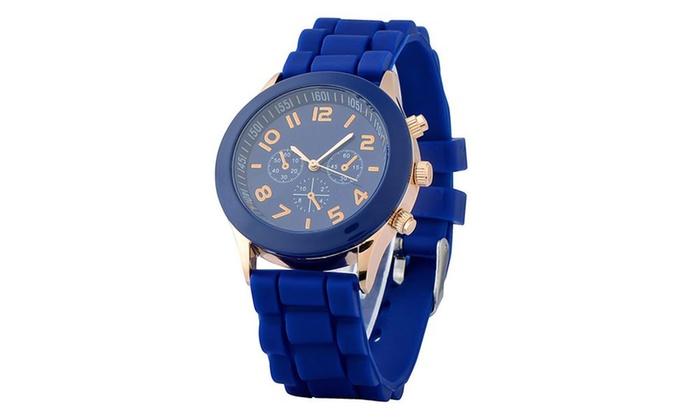 Zodaca Dark Blue Silicone Jelly Quartz Analog Sports Wrist Watch New