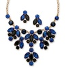 Blue Crystal Necklace and Earrings Set in Yellow Gold Tone
