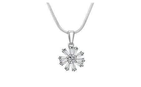CZ Flower Latest Designs Pendant White Hue with Chain 186c7047-d895-4759-9872-8e32d976d442