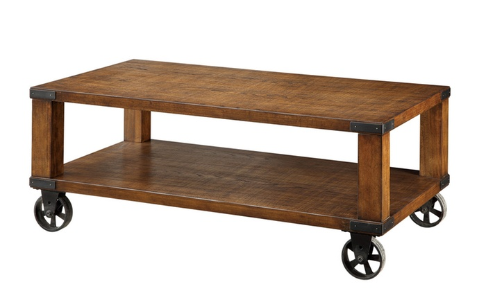 ... Weston Dark Oak Industrial Design Caster Wheel Coffee Table