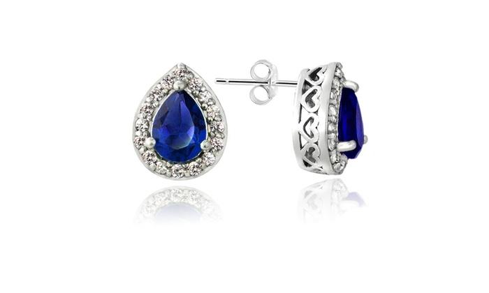 Sterling Silver Created Blue & White Sapphire Teardrop Stud Earrings 11.5 CHH7y4raM
