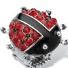 Round Red and Black Crystal Silvertone Ladybug Stretch Ring