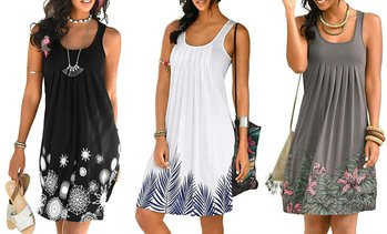 Women Summer Casual Spaghetti Strap Sundress Sleeveless Beach Dress