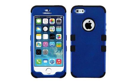 Insten Dark Blue Black Hybrid Hard Snap-On Case For iPhone 5 5s