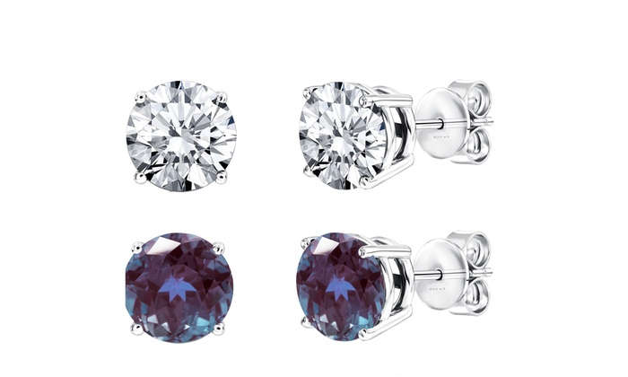 457cbe80e Sterling Silver Set of 2 Changing Alexandrite and White Topaz Stud Earrings