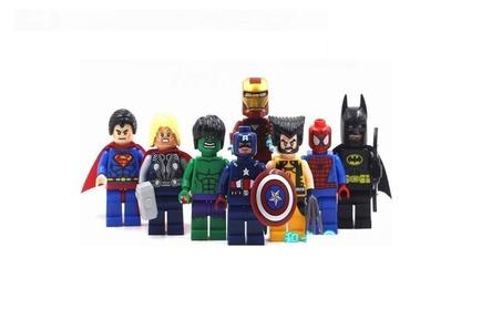 8 Super Heroes Mini figures Thor Hulk Wolverine Iron Batman Blocks 964aab8f-c6fb-443a-9a47-6d90fcd8f08b