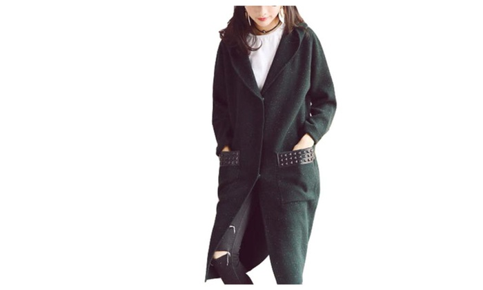Women's Long Sleeve Casual Buttons Up Casual Wool Coat