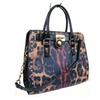 Samantha Leopard Red Contrast Print Studded Satchel Handbag & Wallet