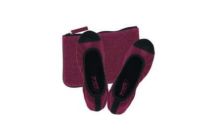 Foldable Sparkly Ballet Flats with Matching Carry Pouch - Assorted Colors