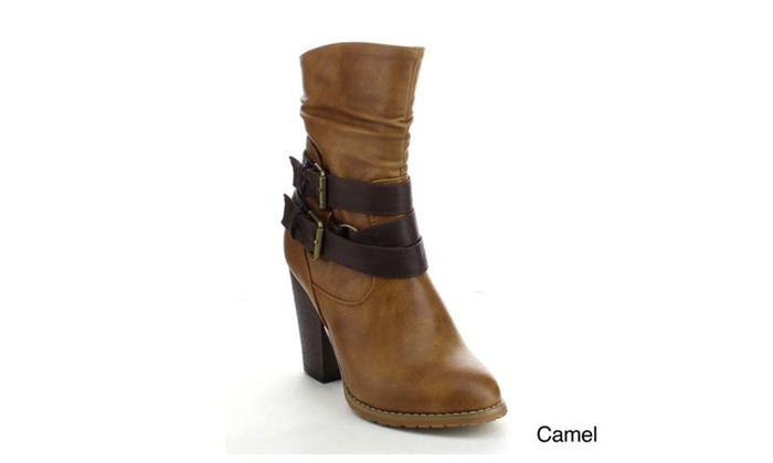 Refresh LAURA-03 Women's Slouchy Buckle Side Zipper Mid Calf Boots