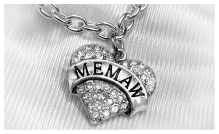 MEMAW Clear Crystal Heart on Toggle Clasp Chain Necklace