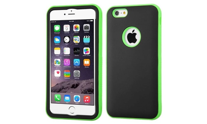 Case Design nutshell phone cases : Insten Hard Hybrid Silicone Cover Case For iPhone 6 Plus - Black/Green ...
