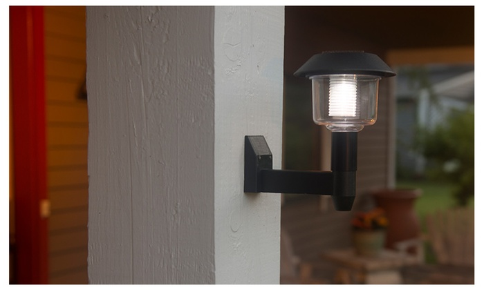 Black Evelots Wall Mount Outdoor Solar Led Light With On Off Switch