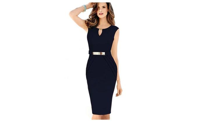 Women's Slim Bodycon Small V-Neck Sleeveless Dress – JPWD027-JPWD026