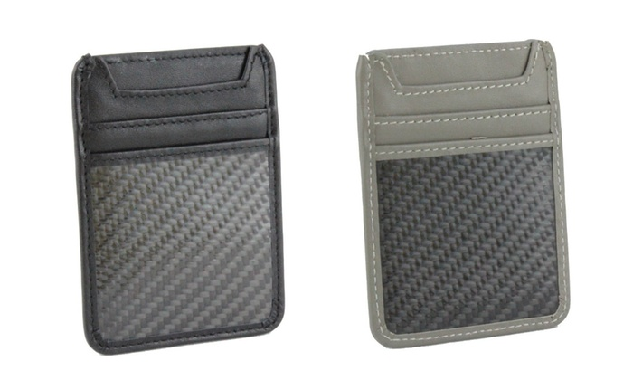 Genuine Carbon Fiber and Leather RFID Blocking Card Holder Wallet