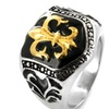 Stainless Steel Golden Fleur De Lis Shield Ring