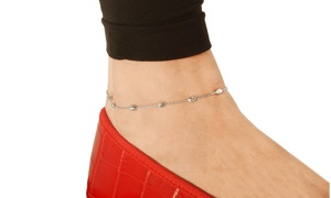 Solid Italian Oval Moon Cut Bead Anklet in Sterling Silver