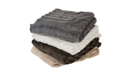 Cheer Collection Faux Fur to Microplush Reversible Throw Blanket 9a8063f0-9445-4c53-8cf2-8b5733d4f3df
