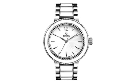 Bulova Women's White Enamel Stainless Steel Bracelet Classic Watch