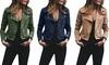 Women's Fashion Turndown Collar Jackets Retro Rivet Zipper Up Casual Tunic