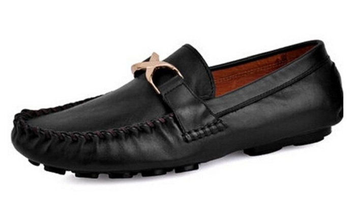 Men's Suede Leather Weave Embossing Ventilation Loafers