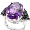 Sterling Silver Oval Amethyst with Black Spinel Wide Ring