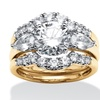 3 Piece 3.47 TCW Round CZ Bridal Ring Set in 18k over Sterling Silver