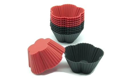 Freshware 12-Pack Silicone Cherry Flower Baking Cup, Red and Black fea26620-0da1-4e56-a6e7-18382adc9239