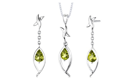 Peridot Pendant Earrings Set Sterling Silver Pear Shape 2 carat SS2864