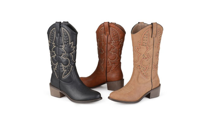 Journee Collection Womens Round Toe Topstitched Western Boots
