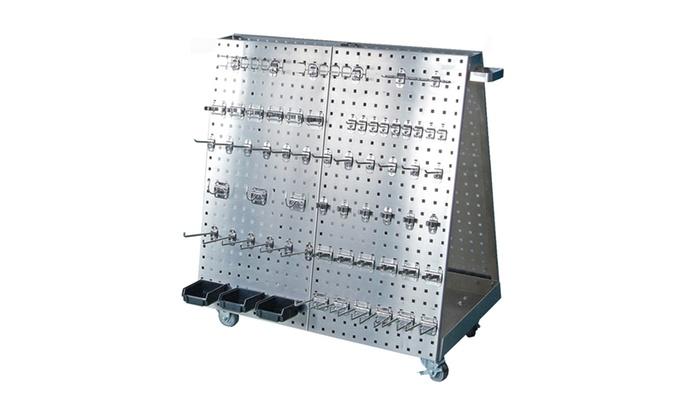 SS LocBoard Cart/60 Hooks/3 Bins