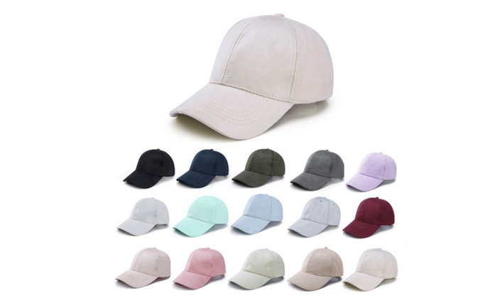 Panel Faux Suede Baseball Cap Classic Adjustable Soft Plain Hat