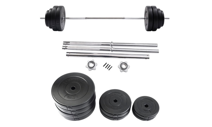 5d492fff4f2 132 LB Barbell Dumbbell Weight Set Gym Lifting Exercise Curl Workout ...