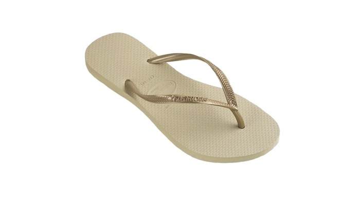 Havaians Slim Sand Grey/Light Golden Flip Flops
