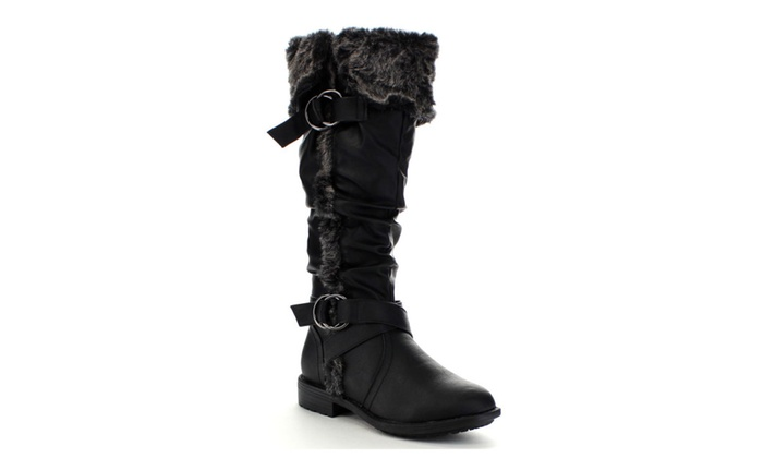 Beston CB30 Women's Strappy Low Heel Slouch Knee High Snow Boots