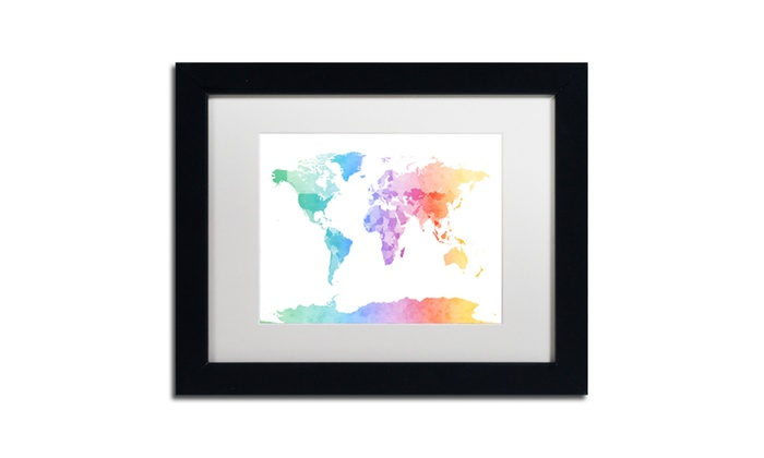 Michael tompsett watercolour map of the world matted black framed michael tompsett watercolour map of the world matted black framed art gumiabroncs Images