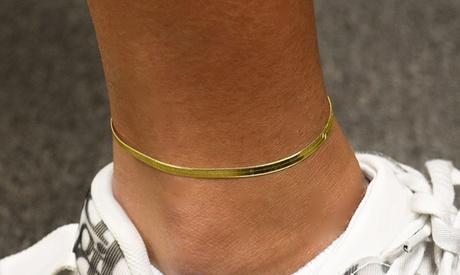Italian 18K Yellow Gold Herringbone Anklet
