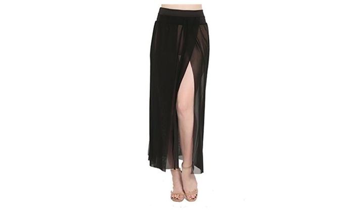 47e0e80b60 Womens Sheer Sarong Side Slit Beach Skirt Maxi Swimsuit Cover Ups