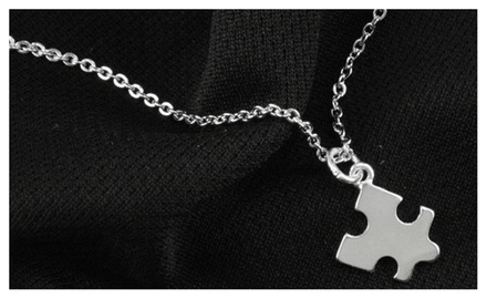 Silver Tone Autism Awareness Mini Puzzle Piece Charm on Chain Necklace